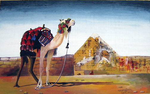 Pyramids of Giza with Camel by Said, Delta Papyrus Center